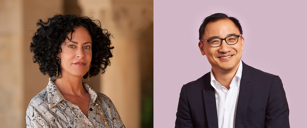 side-by-side profile photos of Michele Elam and Daniel Ho