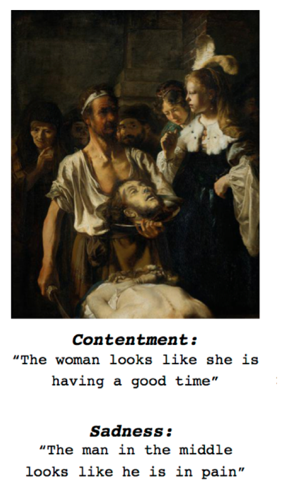 An example of how the algorithm determines complicated emotions in paintings.
