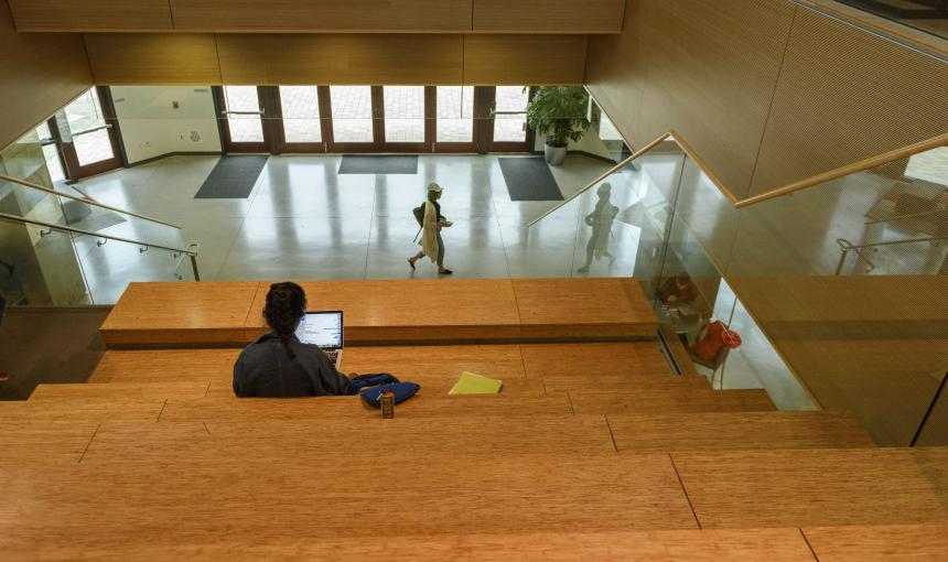 A student studies at the Huang Engineering Center.