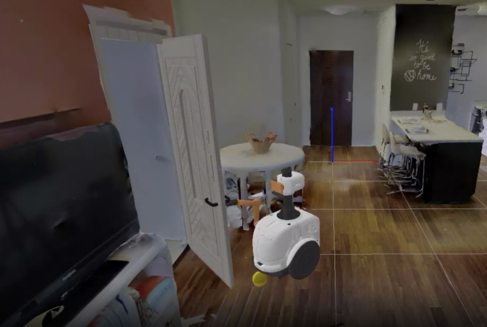 A robot interacts in a virtual environment.